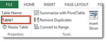 Excel Table Name Property