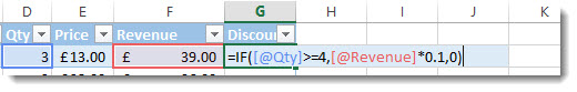 Formulas within an Excel table