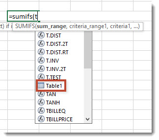Refering to a table name in a formula