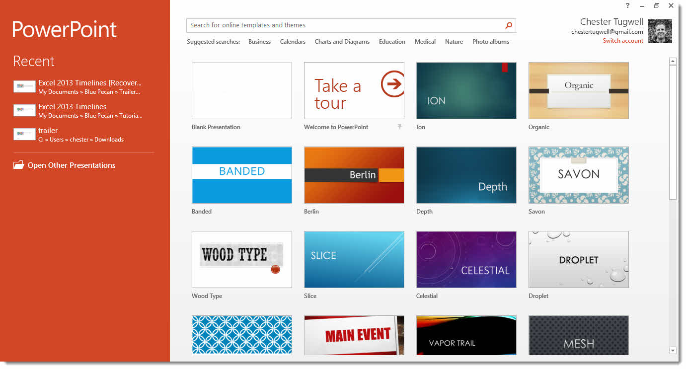 Powerpoint 2013 themes powerpoint 2013 templates microsoft powerpoint 2013 start screen how to use it how to powerpoint 2013 themes toneelgroepblik Choice Image