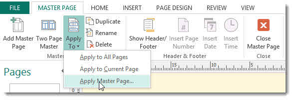Microsoft Publisher - Starting Numbering on Page 2 Onward –