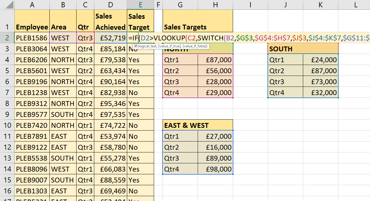 Using Excel's SWITCH Function including SWITCH with VLOOKUP  –